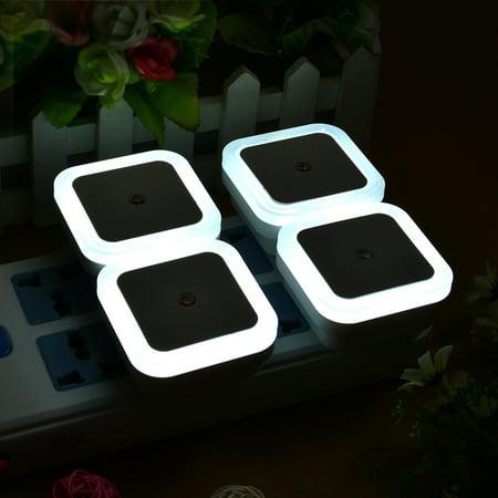 Auto White Led Light Sensor Control Bedroom Night Lights Bed Lamp