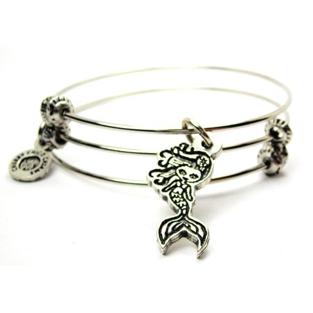 Chubby Chico Charms Cute Little Mermaid Expandable Wire Triple Style Bangle Bracelet, 2.5