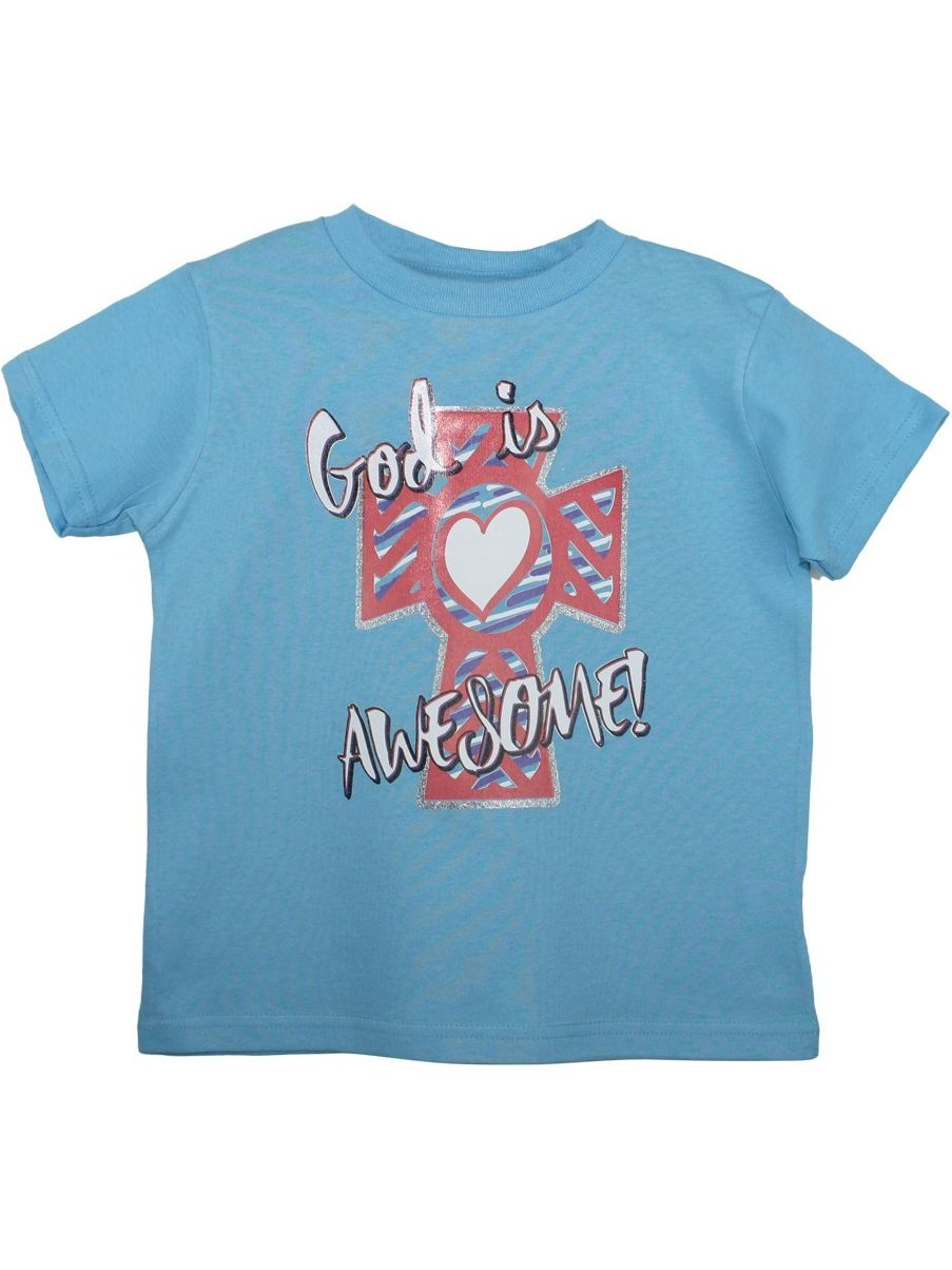 "unisex blue ""god is awesome"" print short sleeve cotton t-shirt"