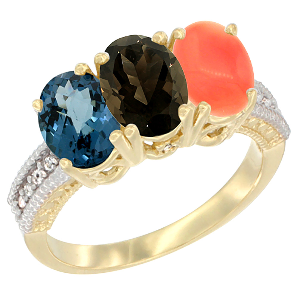 10K Yellow Gold Diamond Natural London Blue Topaz, Smoky Topaz & Coral Ring 3-Stone Oval 7x5 mm, sizes 5 10 by WorldJewels