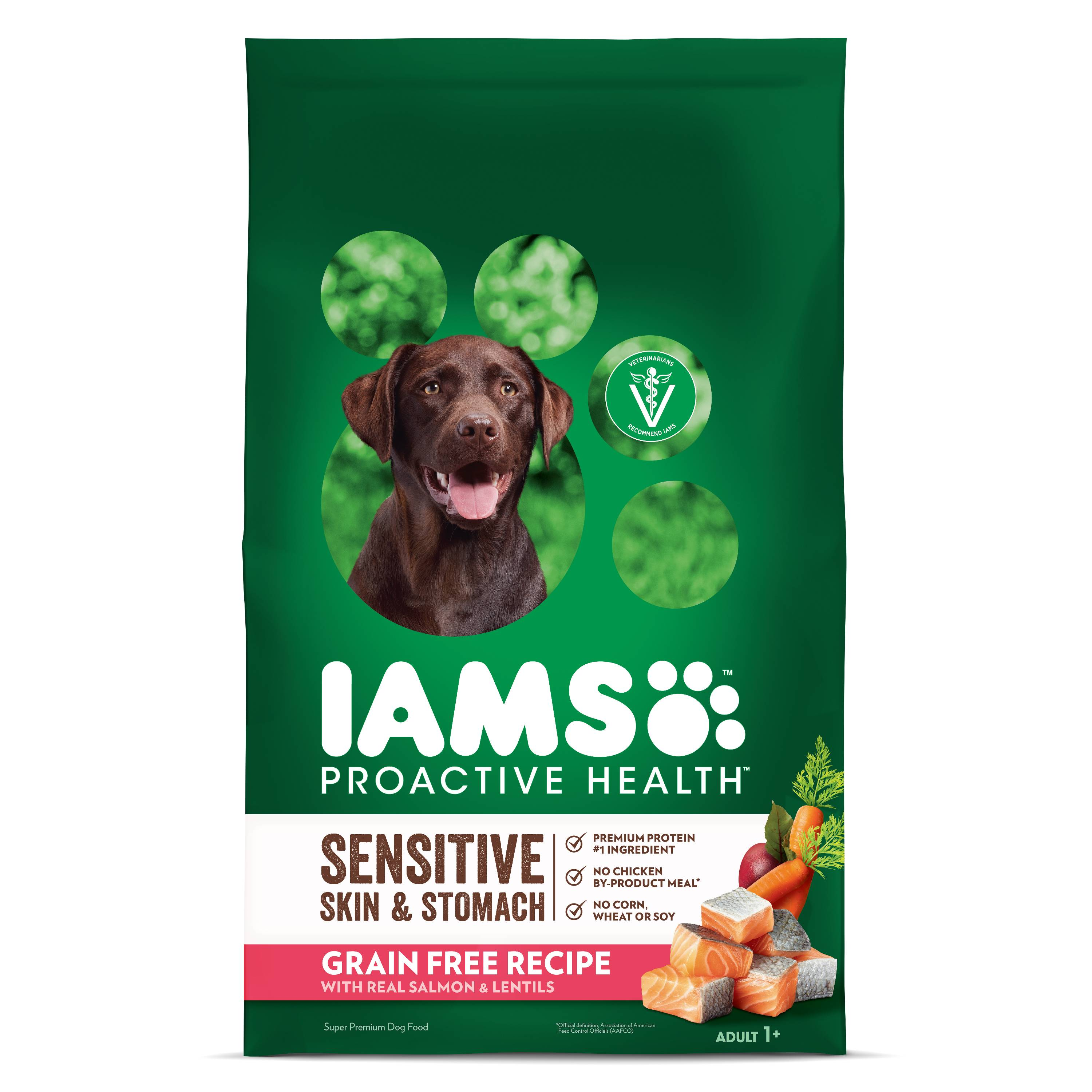 IAMS PROACTIVE HEALTH Sensitive Skin & Stomach Grain Free Dry Dog Food with Real Salmon and Red Lentils, 10.3 lb. Bag