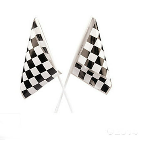Lot of 24 Plastic Checkered Mini Racing Flags Race Party Favor for $<!---->