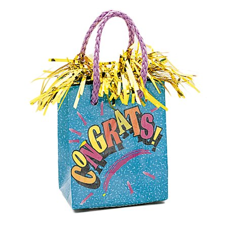 Unique Congrats Grad Gift Bag Graduation Centerpiece 4.5'' Balloon Weight - Graduation Gift Bags