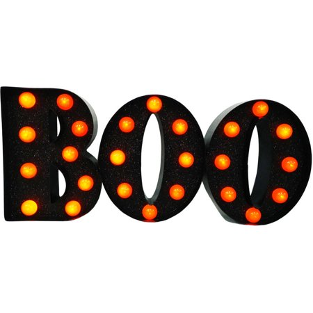 Metal  Boo  With Lights Halloween Decoration
