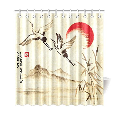GCKG Flying Storks Sunset Hills Landscape Shower Curtain Asian Traditional Ink Painting Polyester Fabric Bathroom Sets With Hooks 66x72