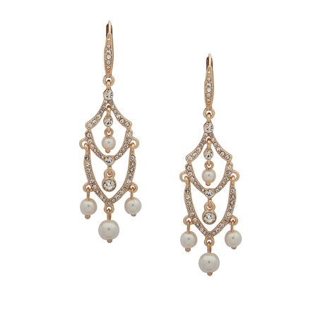 Crystals & Faux Pearls Chandelier Earrings Gold Vermeil Chandelier Earrings
