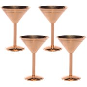 Old Dutch International (4 Pack) 9oz Solid Copper Martini Cocktail Glasses Party Set by ODI Old Dutch International