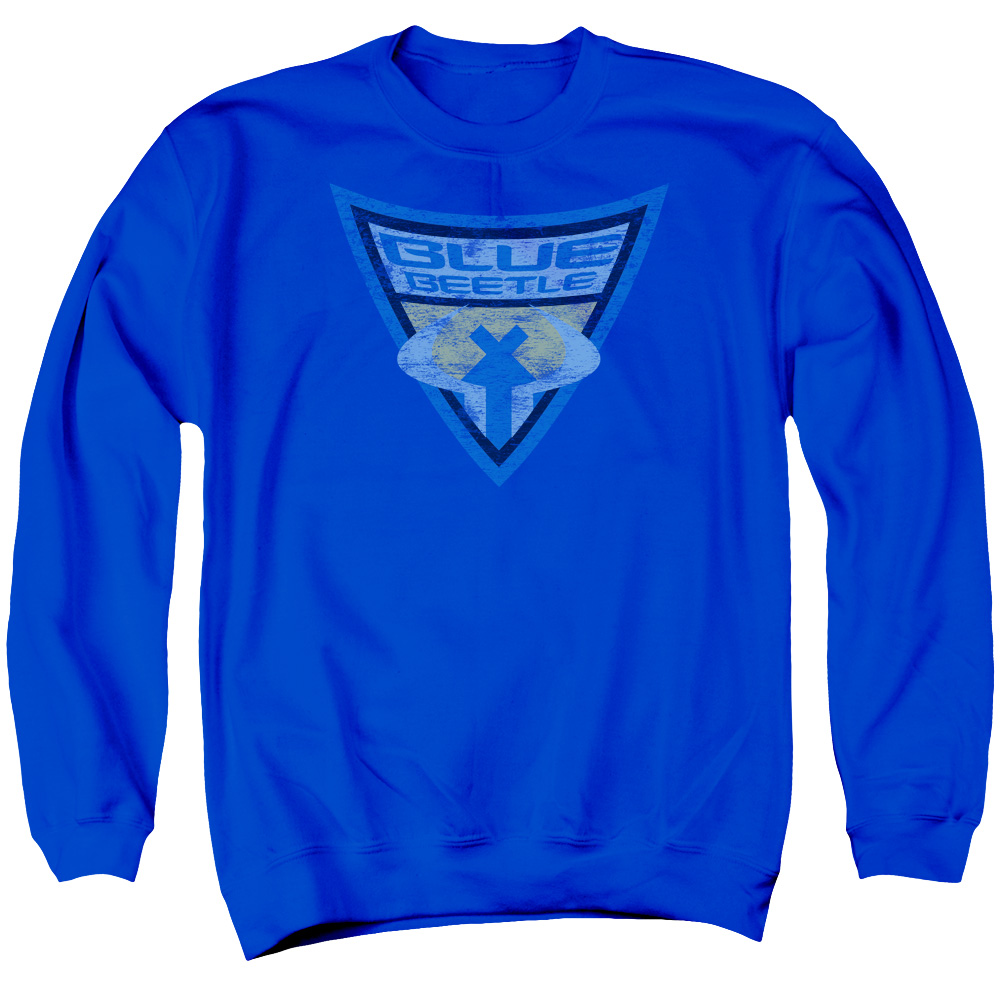 Blue Beetle Brave And The Bold Distressed Costume Adult Crew Sweatshirt