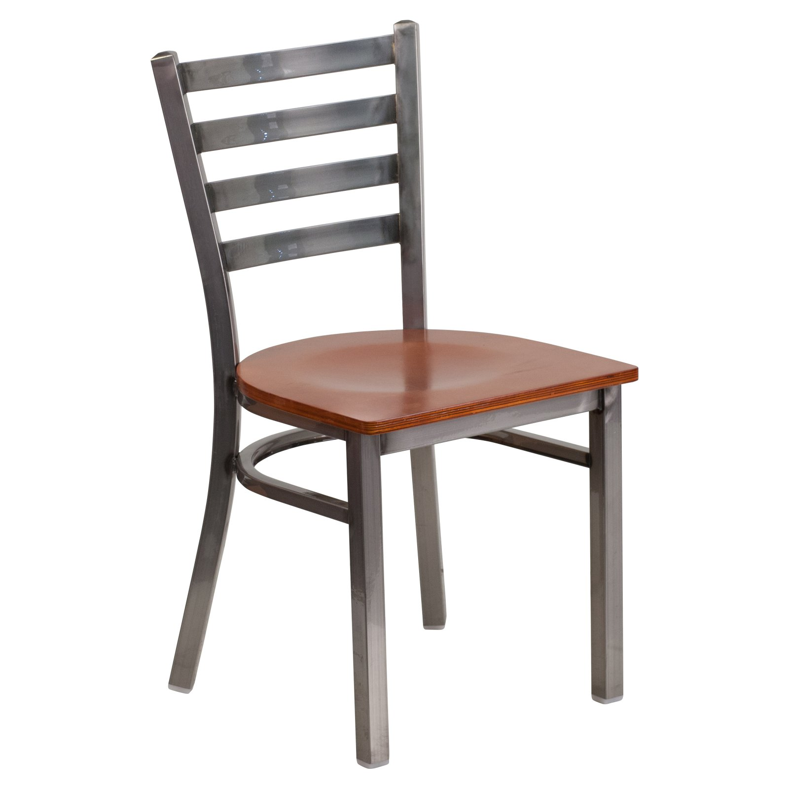 Flash Furniture HERCULES Series Clear Coated Ladder Back Metal Restaurant Chair - Wood Seat Multiple Colors