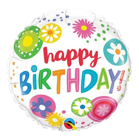 Qualatex 85635 18 in. Happy Birthday Floral Circles Flat Foil Balloon - Pack of 5