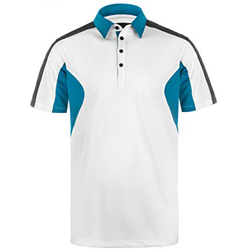 Founders Club Men's Performance Golf Polo Shirt Short Sleeve Swing Dry Stay Cool Comfort Tech (Large, White/Blue)