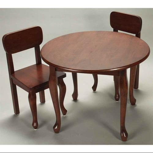3 Pc Kids Round Table & Chair Set w Cherry Finish