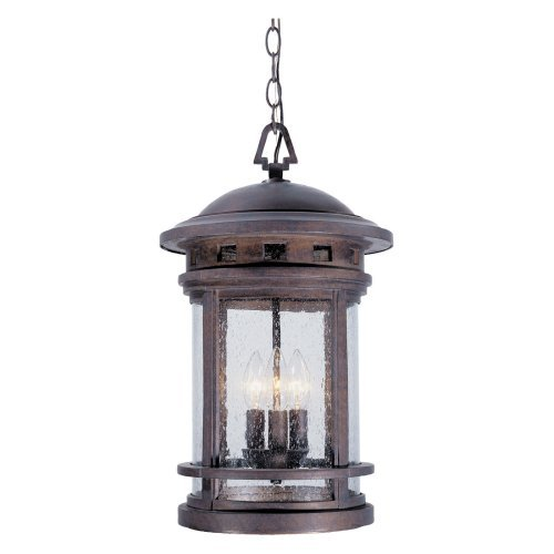 Designers Fountain Sedona - Three Light Outdoor Wall Lantern, Oil Rubbed Bronze Finish with Seedy Glass