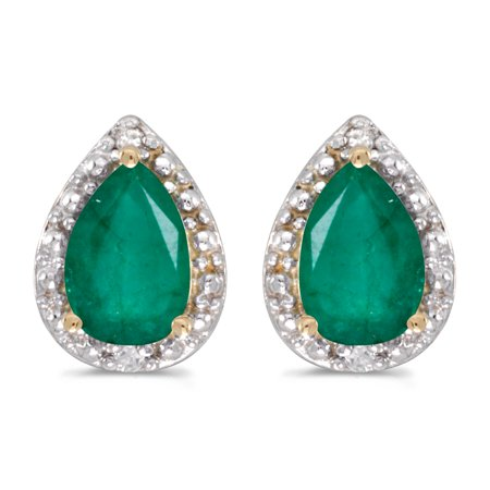 Emerald Diamond Pearl - 14k Yellow Gold Pear Emerald And Diamond Earrings