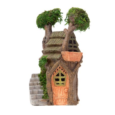 Double Tree Fairy Garden House: Resin, 3.5 x 6.5 x 3.75 inches ()