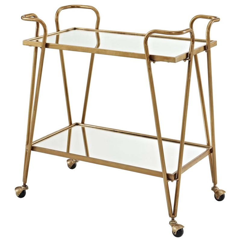 Linon Mid-Century Bar Cart, Mirror Top and Bottom with Gold Legs