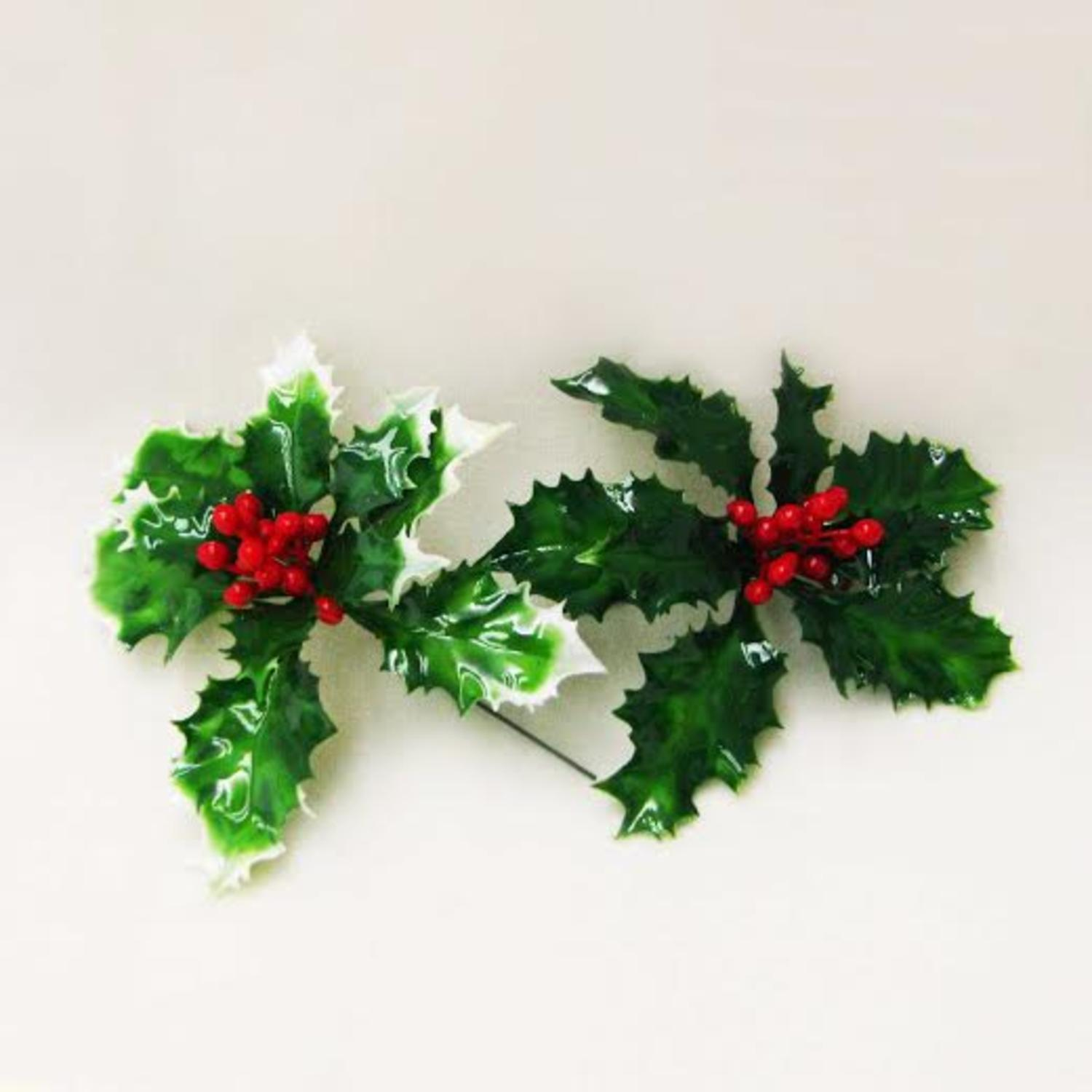 Club Pack of 72 Lacquered Green Holly Leaves with Red Berries Artificial Christmas Picks 5""