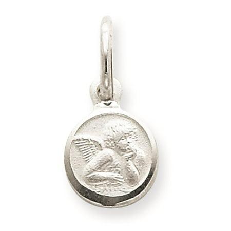 Sterling Silver Angel Charm Pendant - Angel Solid & Polished Charm Pendant 17mmx10mm 925 Sterling Silver