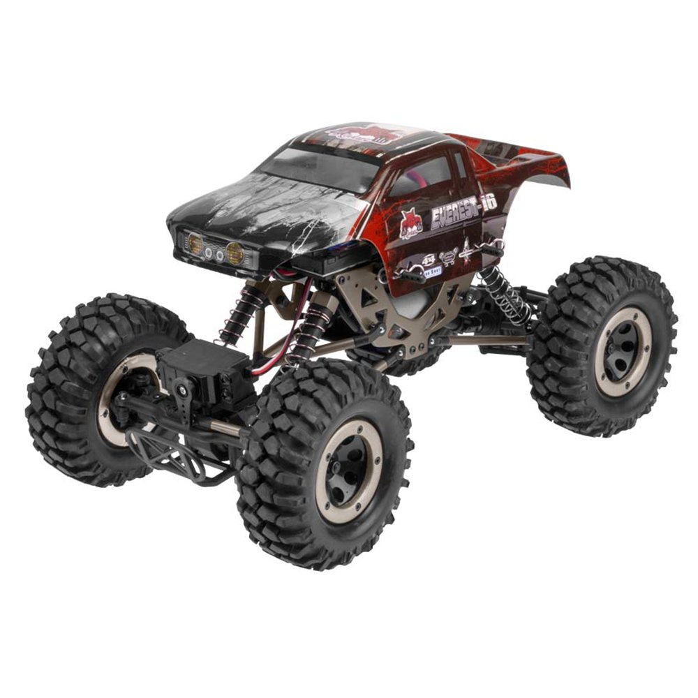 Redcat Racing Everest 16 1:16 Scale Rock Crawler Electric Brushed RC Truck, Red