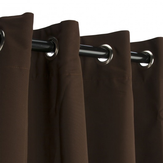 Sunbrella Canvas Bay Brown Outdoor Curtain with Nickel Plated Grommets 50 in. x 108 in.