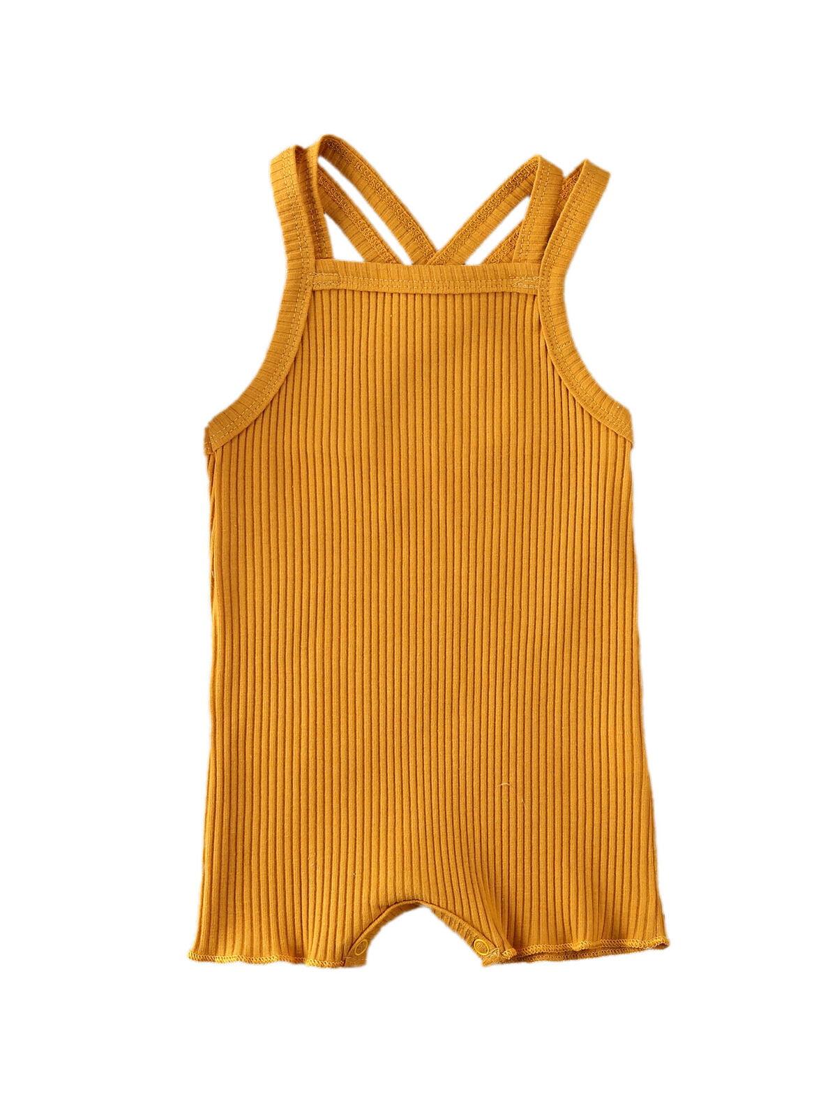 FOECBIR Yellow Horse Baby Sleeveless Bodysuit Umpsuit Cotton for Unisex Baby