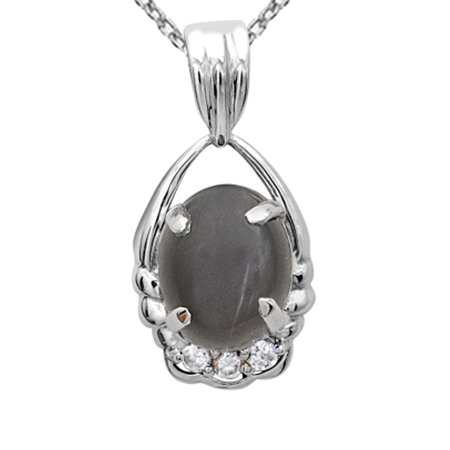 - Orchid Jewelry Sterling Silver 5 2/7 Carat Moonstone Grey and Cubic Zirconia Necklace