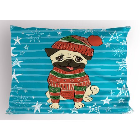 Pug Pillow Sham Happy Dog with Winter Clothes Vibrant Stripped Background with White Stars Moon, Decorative Standard Size Printed Pillowcase, 26 X 20 Inches, Emerald Blue Red, by Ambesonne