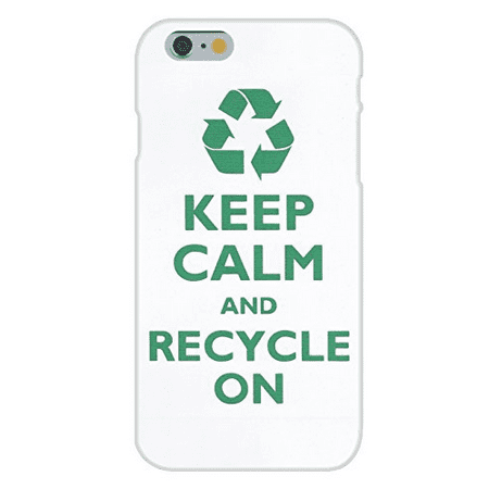 Apple iPhone 6+ (Plus) Custom Case White Plastic Snap On - Keep Calm and Recycle On (Cell Phone Recycling)