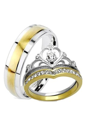 6cb329b065b Product Image His and Hers Wedding Rings 3 Pc Yellow Gold IP Crown  Stainless Steel Wedding Set. Edwin Earls
