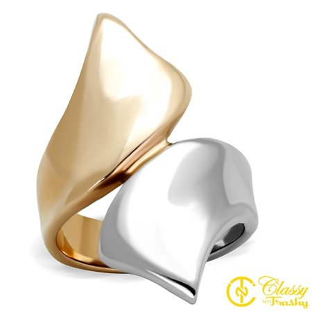 Bronze Ring - Classy Not Trashy® Women's Stainless Steel Bronze/Silver Color Bypass Ring - Size 7