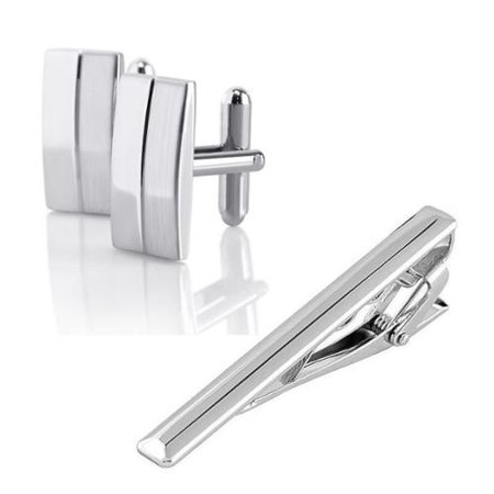 Zodaca Men Metal Silver Tone Simple Necktie Tie Bar Clasp Clip Cuff Link Cufflinks