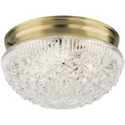 Westinghouse 6661000 2 Light Flush Mount Faceted Glass Ceiling Fixture