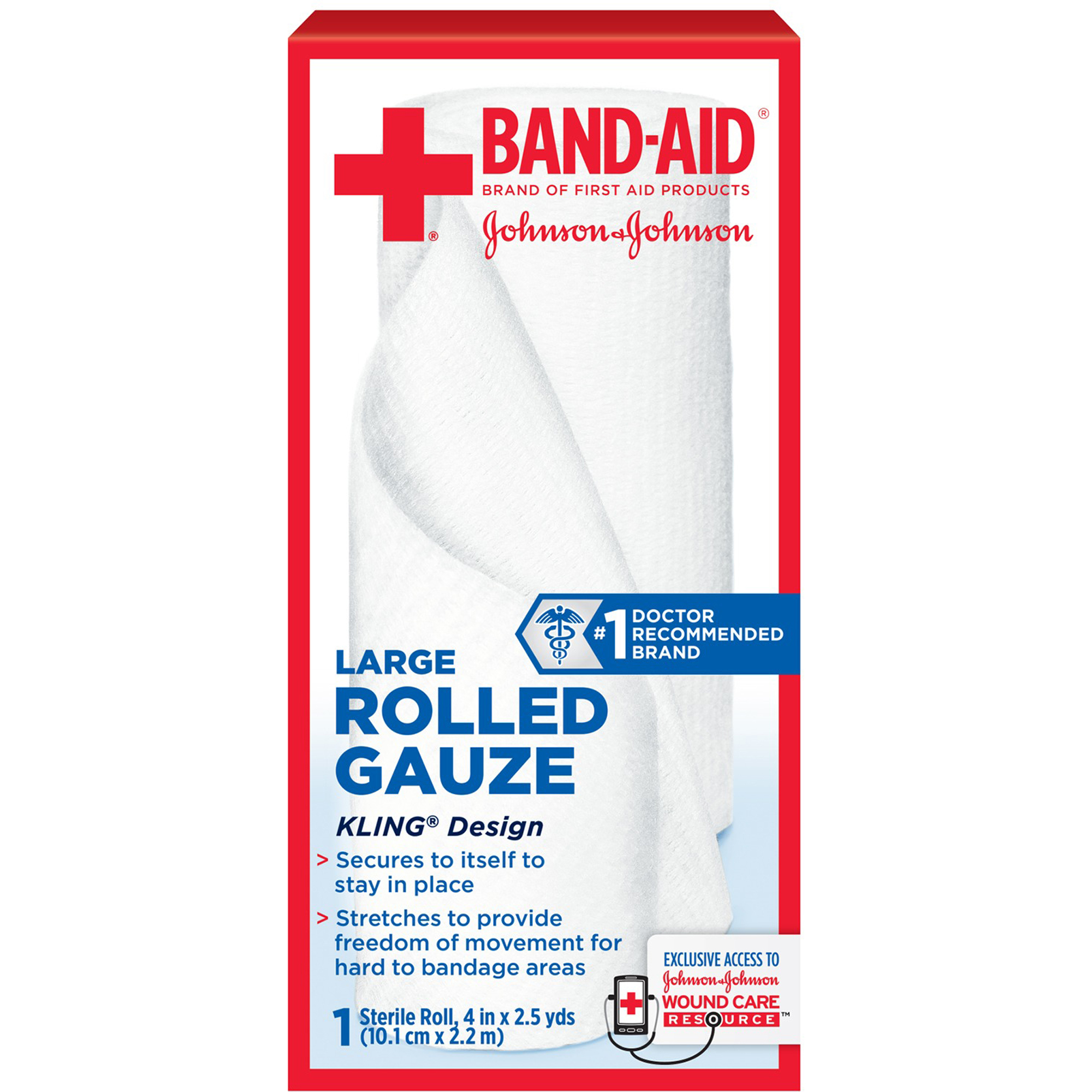 Band-Aid Brand of First Aid Products Rolled Gauze, 4 Inches by 2.5 Yards