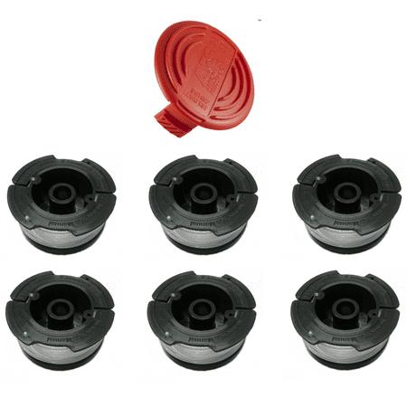 Cap + 6 Line Spools for Trimmer for Black & Decker AF-100 385022-03 HOG (Black And Decker Grass Hog Trimmer Line Replacement)