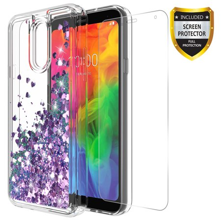 new arrival 3d911 4f15d LG Q7 Case, LG Q7+ Case, LG Q7 Plus Case With Tempered Glass Screen  Protector, KAESAR Quicksand Glitter Sparkly Bling Liquid Shiny Clear Soft  TPU ...