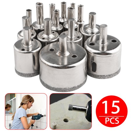 TSV 15Pcs 6mm-50mm Diamond Hole Saw Drill Bit Set Cutting Tool For Tile Marble Glass