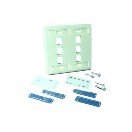 Leviton Almond Quickport 6-Port 2-Gang ID Window Wallplate 42080-6AP Wall Plate 2 Id Windows