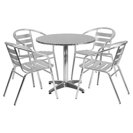 Aluminum Slat Table - Flash Furniture 31.5'' Round Aluminum Indoor-Outdoor Table with 4 Slat Back Chairs