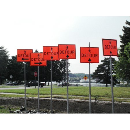 LAMINATED POSTER Detour Direction Sign Confusion Chaos Conflict Poster Print 24 x -