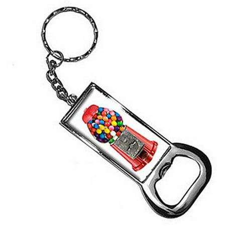 Gumball Machine Keychain Key Chain Ring Bottle Bottlecap Opener