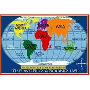 "Fun Rugs Supreme Kids World Map Kids' Rug, Blue, 3'3"" x 4'10"""