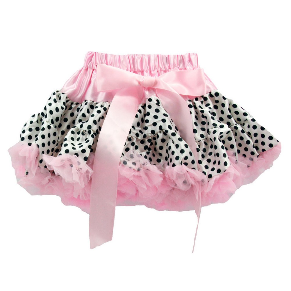 Baby Girls Pink Black Polka Dots Tutu Fluffy Pettiskirt 0-12 Years