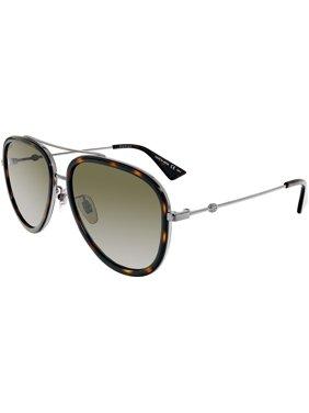 Gucci Anti-reflective GG0062S-002-57 Silver Aviator Sunglasses