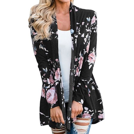 (Starvnc Women Shawl Neck Long Sleeve Floral Print Cardigan)
