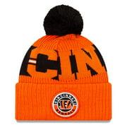 Cincinnati Bengals New Era 2020 NFL Sideline Sport Pom Cuffed Knit Hat - Black/Orange - OSFA