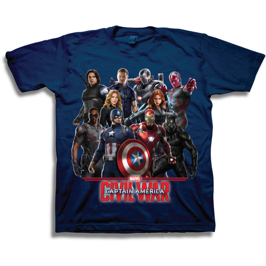 Marvel Captain America Boys' Characters Short Sleeve T-Shirt