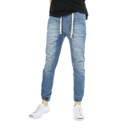 JD Apparel Mens Slim Fit Washed Denim Joggers (Mens Denim Acid Blue Joggers)