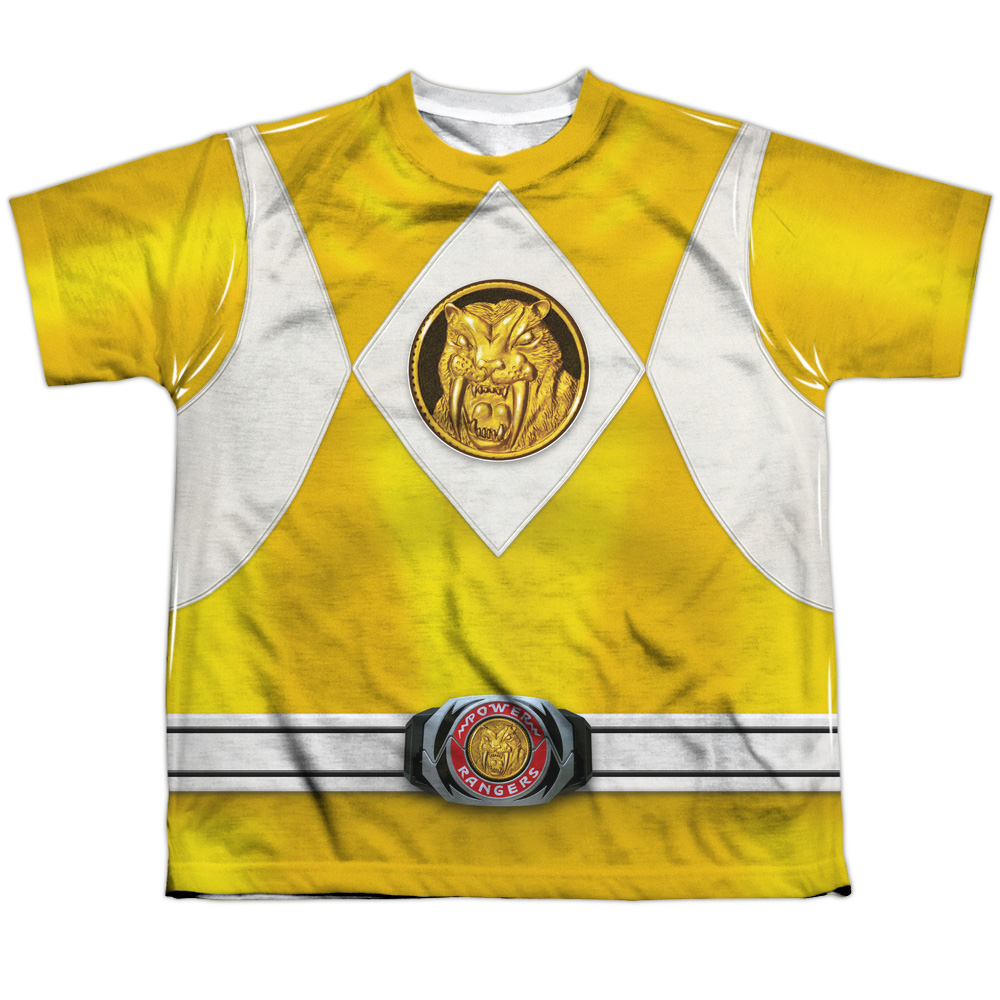 Mighty Morphin Power Rangers Yellow Ranger Emblem Big Boys Sublimation Shirt