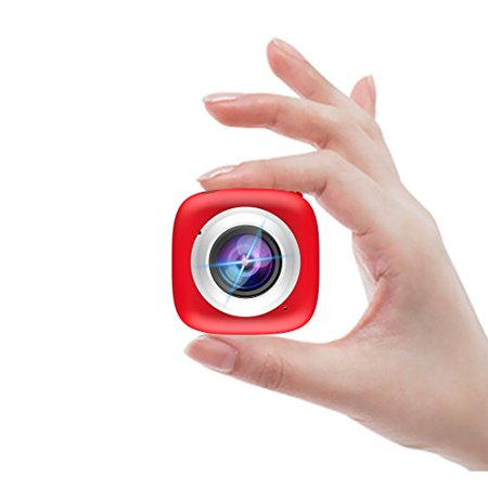 Sport Action Camera - Elecwave EW-SC01 Stick Anywhere Selfie Sport Camera Multi-functional APP Remote Control DV Recorder Suitable for Indoor and Outdoor Use, Red