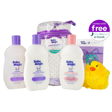 Baby Magic Sweet Dreams in a Bag (1 ea 9oz Calming Bath, 9oz Calming Lotion, 9oz Creamy Baby Oil, Duck Pouf, Free Dream Baby Sleep® E-book & Reusable Bag)